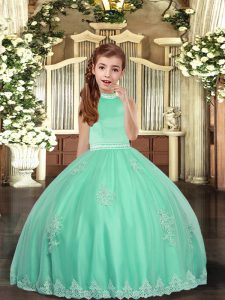 Eye-catching Apple Green Tulle Backless Pageant Dress Womens Sleeveless Floor Length Appliques
