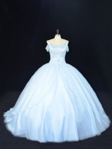 Extravagant Beading Vestidos de Quinceanera Blue Lace Up Sleeveless Court Train