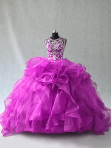 Amazing Ball Gowns Quince Ball Gowns Purple Scoop Organza Sleeveless Floor Length Lace Up