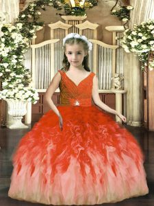 Cheap Rust Red Backless V-neck Beading and Ruffles Pageant Dress for Teens Tulle Sleeveless