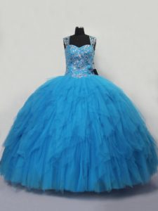 Blue Straps Neckline Beading and Ruffles Vestidos de Quinceanera Sleeveless Lace Up