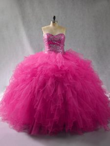 Wonderful Fuchsia Ball Gowns Beading and Ruffles Sweet 16 Quinceanera Dress Lace Up Tulle Sleeveless Floor Length
