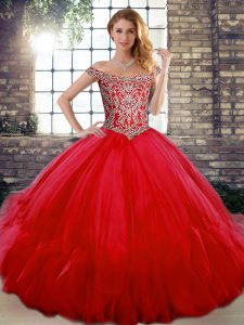 Excellent Red Sleeveless Tulle Lace Up Quinceanera Gown for Military Ball and Sweet 16 and Quinceanera