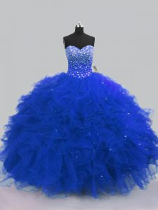 Lovely Royal Blue Tulle Lace Up Sweetheart Sleeveless Floor Length Quince Ball Gowns Beading and Ruffles