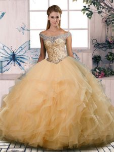 Most Popular Gold Ball Gowns Off The Shoulder Sleeveless Tulle Floor Length Lace Up Beading and Ruffles Quinceanera Dresses