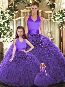 Fashion Floor Length Ball Gowns Sleeveless Purple Vestidos de Quinceanera Lace Up