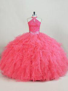 Lace Up Quinceanera Dress Pink for Sweet 16 and Quinceanera with Beading and Ruffles