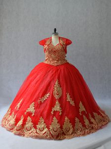 Flare Lace Up Quinceanera Gown Red for Sweet 16 and Quinceanera with Beading and Appliques Court Train