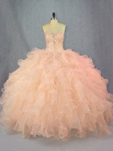 Edgy Peach Sleeveless Organza Lace Up Quinceanera Gowns for Sweet 16 and Quinceanera