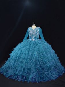 Teal Organza Lace Up V-neck Long Sleeves Floor Length Quince Ball Gowns Beading and Ruffled Layers