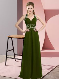 Olive Green Chiffon Backless Straps Sleeveless Floor Length Prom Gown Beading