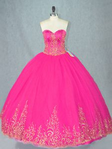 Sweetheart Sleeveless Quinceanera Dress Floor Length Beading Fuchsia Tulle