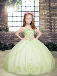 Most Popular Yellow Green Tulle Lace Up Straps Sleeveless Floor Length Pageant Dress for Womens Beading