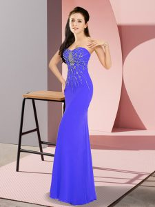Pretty Sweetheart Sleeveless Evening Outfits Floor Length Beading Blue Chiffon