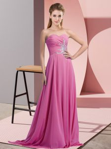 Fashion Chiffon Sweetheart Sleeveless Lace Up Beading Prom Party Dress in Lilac