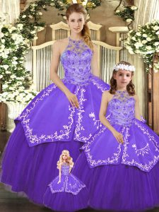 Trendy Floor Length Lace Up 15th Birthday Dress Purple for Military Ball and Sweet 16 and Quinceanera with Beading and Embroidery