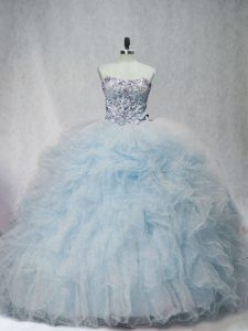 Sleeveless Beading and Ruffles Lace Up 15th Birthday Dress with Light Blue Brush Train