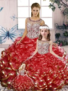Top Selling Red Ball Gowns Scoop Sleeveless Organza Floor Length Lace Up Beading and Ruffles 15 Quinceanera Dress