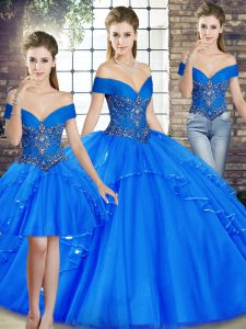 Beauteous Sleeveless Beading and Ruffles Lace Up Quinceanera Dress