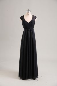 Sophisticated Black Cap Sleeves Floor Length Lace Zipper Prom Evening Gown
