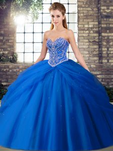 Captivating Blue Sleeveless Brush Train Beading and Pick Ups Quinceanera Gown