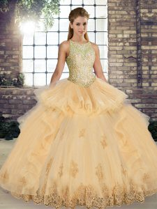 Champagne Ball Gowns Lace and Embroidery and Ruffles Quinceanera Gown Lace Up Tulle Sleeveless Floor Length