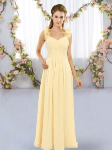 Wonderful Hand Made Flower Dama Dress for Quinceanera Yellow Lace Up Sleeveless Floor Length
