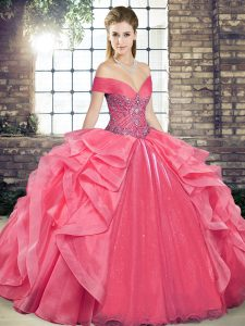 Sleeveless Floor Length Beading and Ruffles Lace Up 15th Birthday Dress with Coral Red