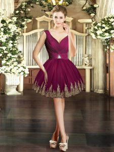 Best Mini Length Burgundy Homecoming Dress V-neck Sleeveless Backless