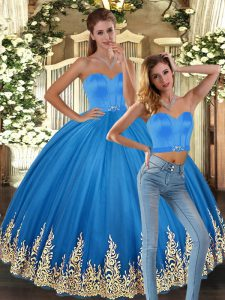 Sweet Two Pieces Sweet 16 Dress Baby Blue Sweetheart Tulle Sleeveless Floor Length Lace Up