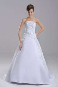 Customized White Taffeta Lace Up Strapless Sleeveless Bridal Gown Brush Train Embroidery
