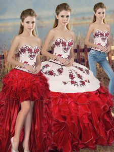 Spectacular Floor Length White And Red Sweet 16 Dress Sweetheart Sleeveless Lace Up