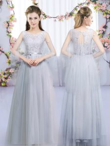 Trendy Grey Lace Up Quinceanera Dama Dress Lace and Belt Sleeveless Floor Length
