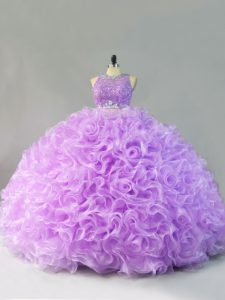 Glittering Lavender Zipper Scoop Beading and Ruffles 15 Quinceanera Dress Fabric With Rolling Flowers Sleeveless