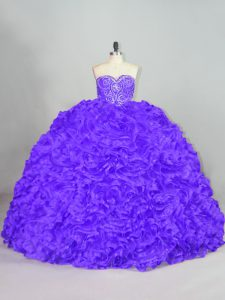 Sleeveless Beading Lace Up Quinceanera Gown with Purple Court Train