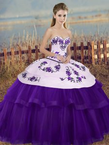 Sleeveless Tulle Floor Length Lace Up Quinceanera Dress in White And Purple with Embroidery and Bowknot