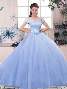 Super Lavender Short Sleeves Tulle Lace Up Sweet 16 Quinceanera Dress for Military Ball and Sweet 16 and Quinceanera
