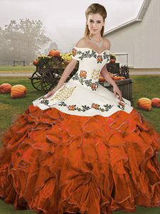 Unique Ball Gowns 15th Birthday Dress Rust Red Off The Shoulder Organza Sleeveless Floor Length Lace Up
