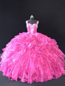 Exceptional Organza Straps Sleeveless Lace Up Beading and Ruffles Sweet 16 Dress in Fuchsia