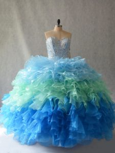 Dynamic Floor Length Ball Gowns Sleeveless Multi-color Quince Ball Gowns Lace Up