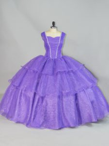 Affordable Lavender Ball Gowns Organza Straps Sleeveless Beading and Ruffled Layers Floor Length Lace Up Vestidos de Quinceanera
