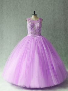 Sleeveless Tulle Floor Length Lace Up Sweet 16 Dresses in Lilac with Beading