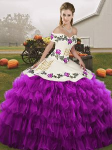 Off The Shoulder Sleeveless 15th Birthday Dress Floor Length Embroidery and Ruffled Layers White And Purple Organza