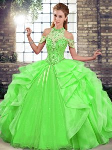 Custom Designed Floor Length Green Quinceanera Dresses Halter Top Sleeveless Lace Up