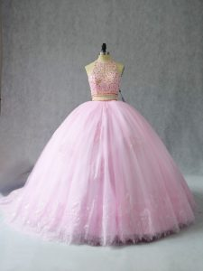 Romantic Baby Pink Zipper Quince Ball Gowns Beading and Appliques Sleeveless Court Train