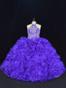 Halter Top Sleeveless Lace Up Sweet 16 Quinceanera Dress Purple Organza