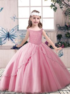 Beading Pageant Dresses Rose Pink Lace Up Sleeveless Floor Length