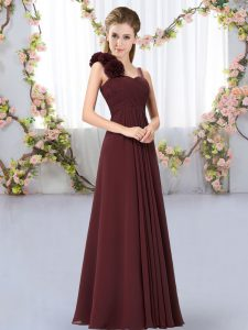 Modern Straps Sleeveless Lace Up Dama Dress for Quinceanera Brown Chiffon