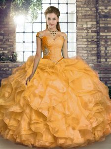 Gold Ball Gowns Beading and Ruffles Quinceanera Gown Lace Up Organza Sleeveless Floor Length