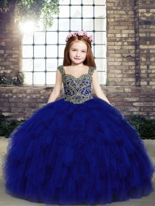 Inexpensive Sleeveless Lace Up Beading and Ruffles Little Girls Pageant Gowns